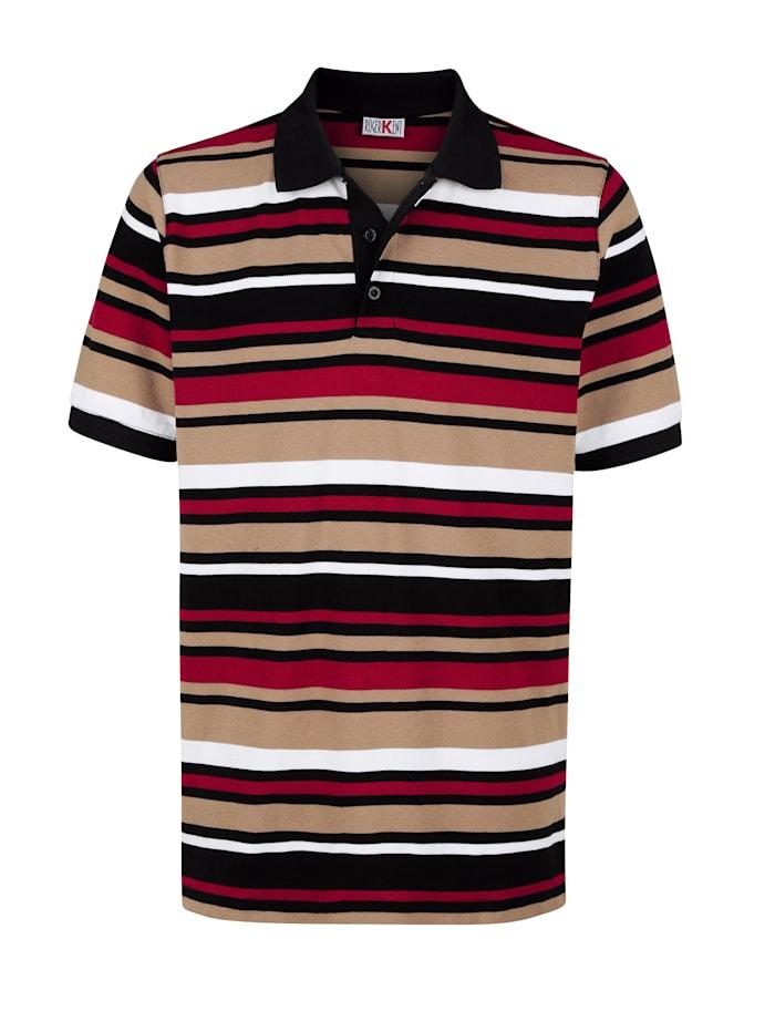 Roger Kent Poloshirt in Piqué-Qualität, Rot/Beige/Weiß/Schwarz