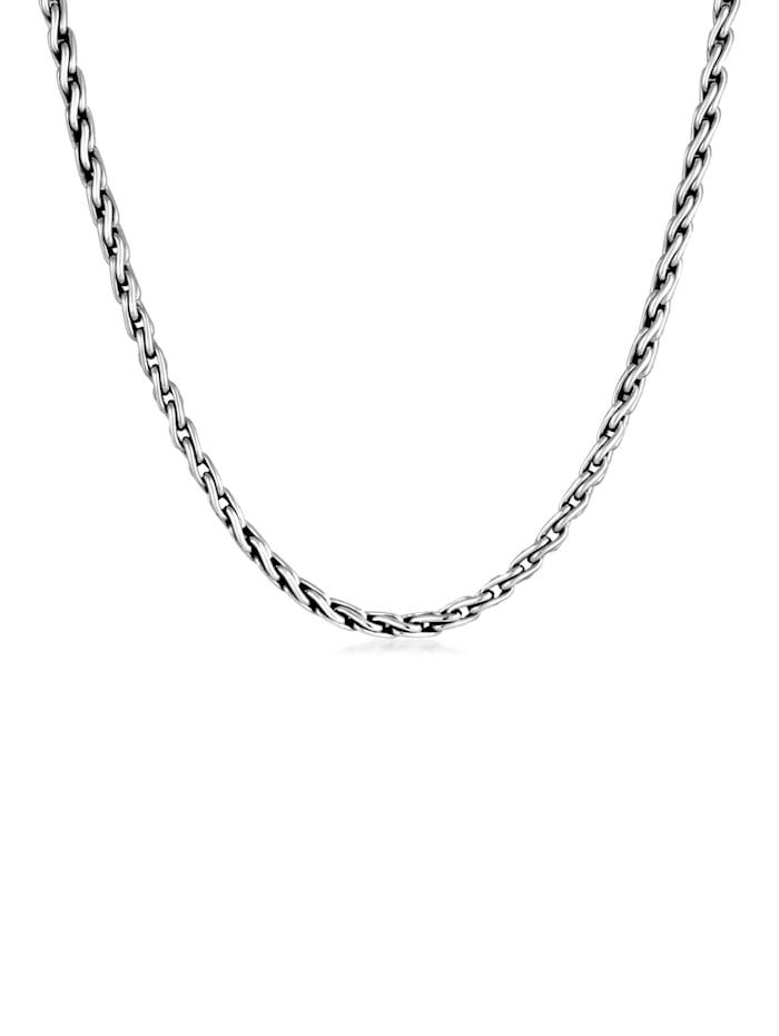 Kuzzoi Halskette Herren Glieder Zopfkette Oxidiert 925 Silber, Silber