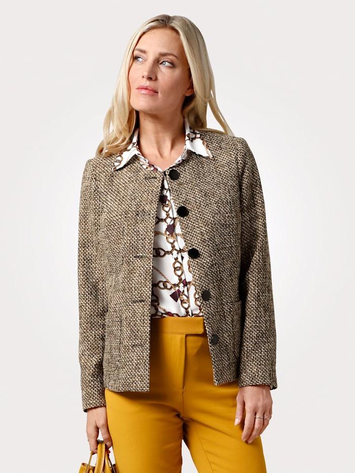 MONA Blazer mit aufgesetzte Taschen, Schwarz/Senfgelb