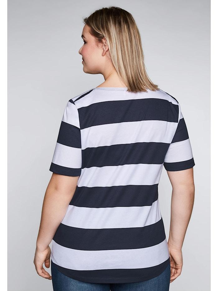 Sheego Shirt mit Sternendruck und Blockstreifen