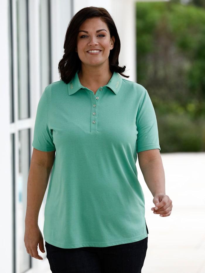 m. collection Poloshirt met mooie kraag, Groen