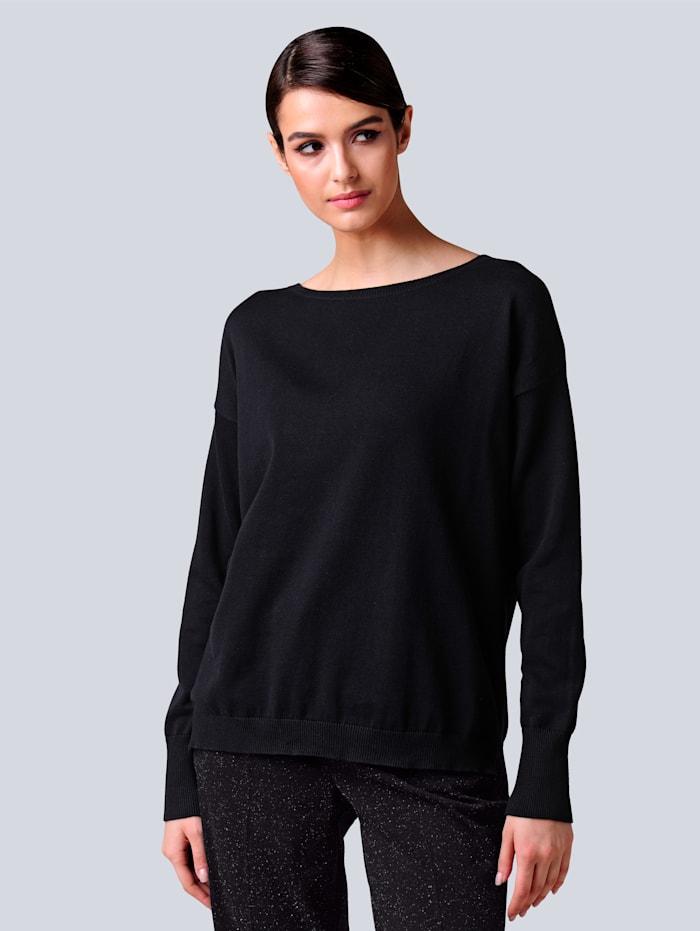 Alba Moda Pullover aus reiner Baumwollqualität, Schwarz