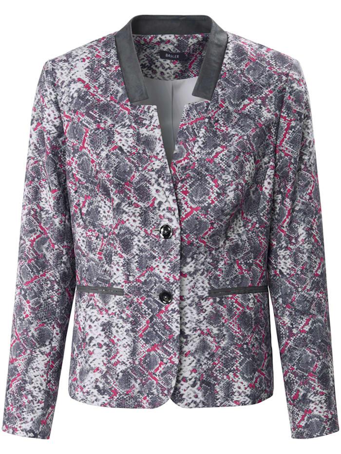Basler Blazer mit Allover-Print und Paspeltaschen, grey/pink