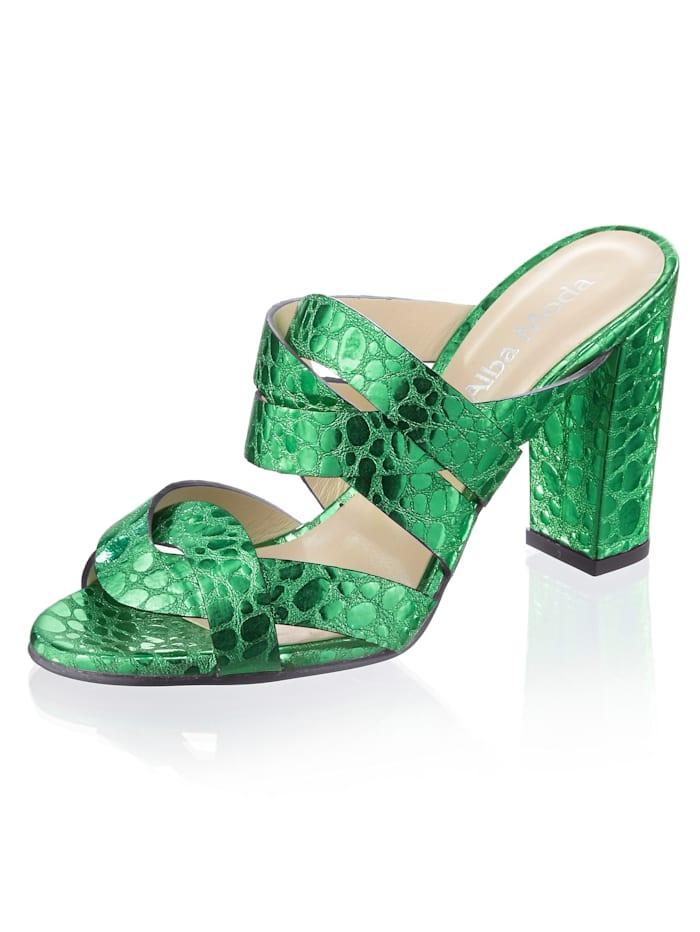 Alba Moda Pantolette aus metalischem Ziegenleder, Grün
