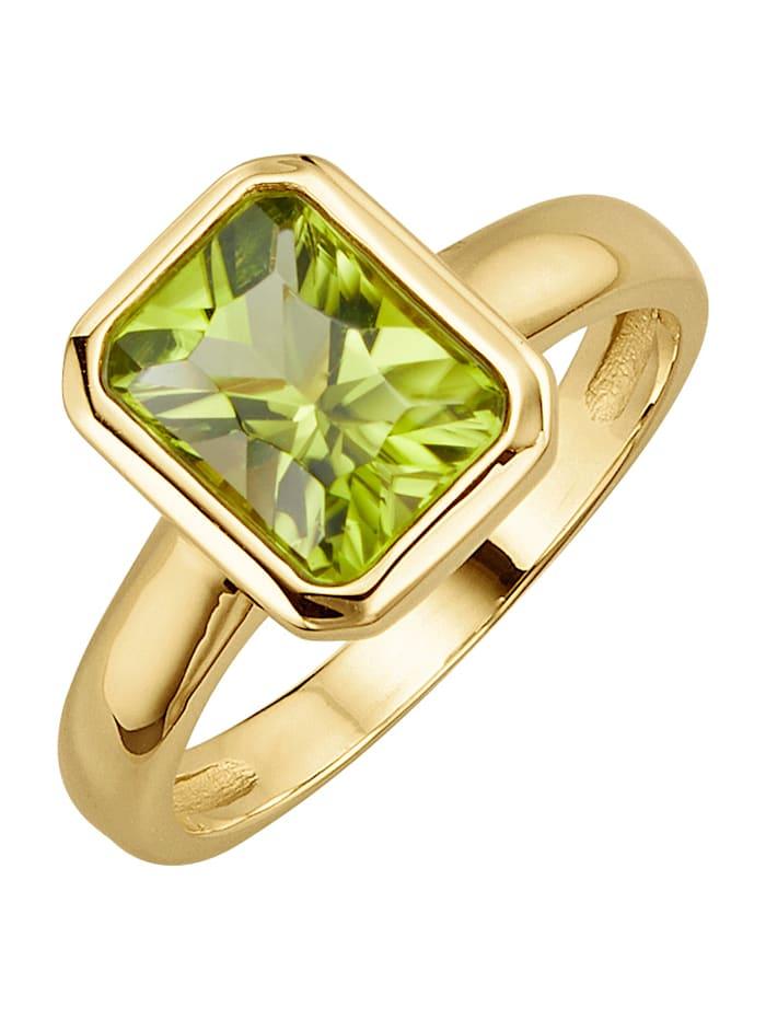 Diemer Farbstein Damenring mit Peridot, Grün