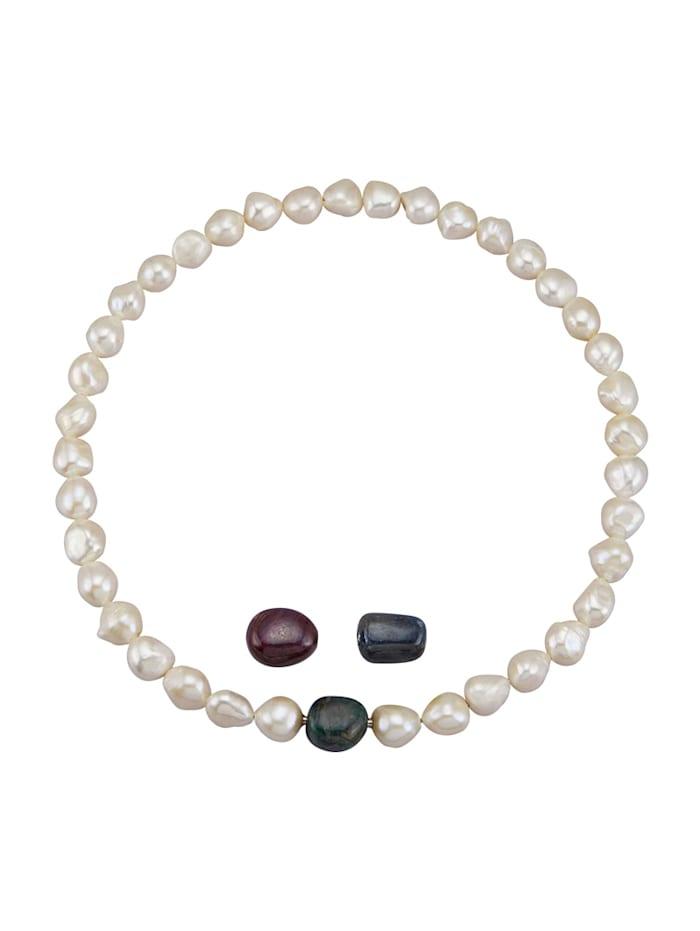 Amara Pierres colorées Collier avec perles de culture d'eau douce, Blanc
