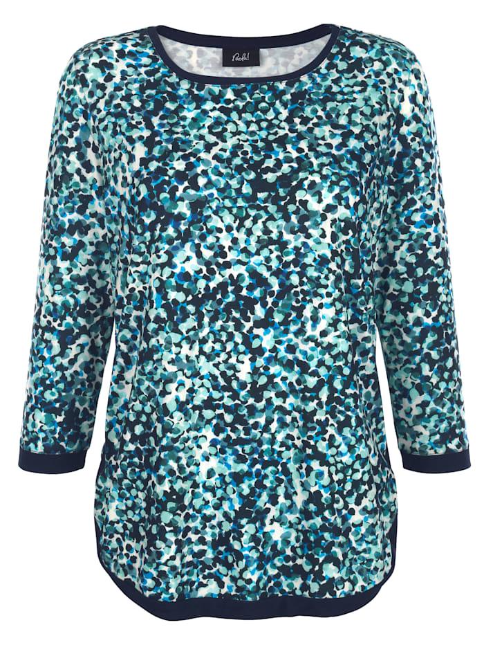 Paola Topp med effektfullt mönster, Marinblå