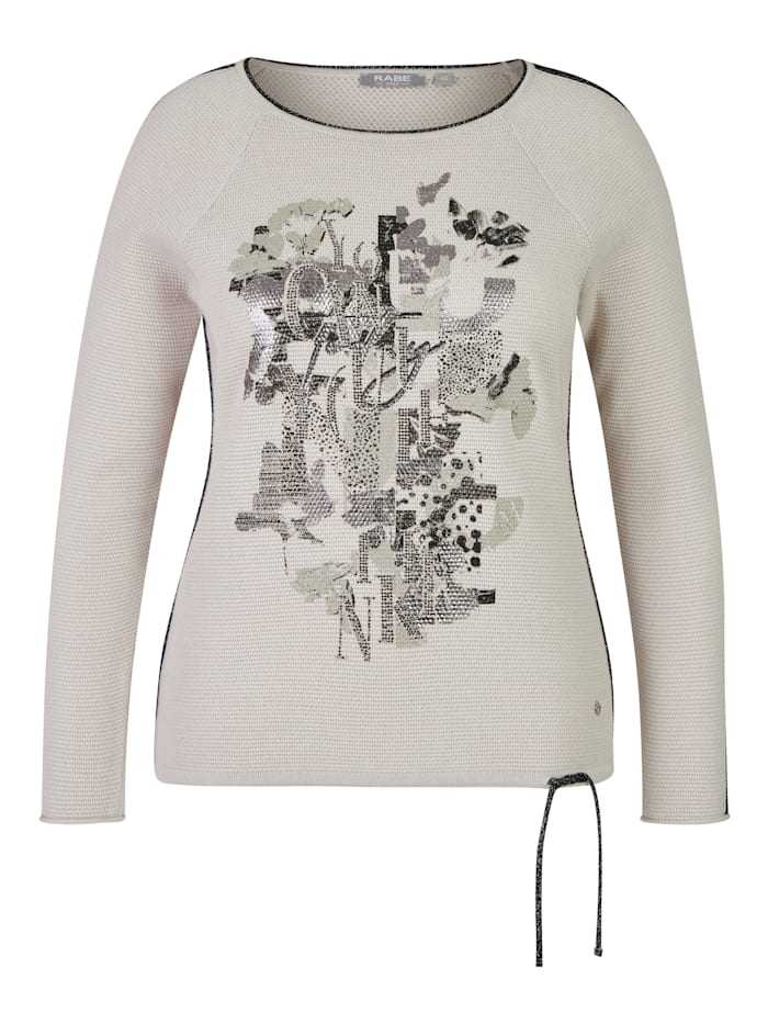 Rabe Pullover in Uni-Design mit Glitzerdetails, PERLE