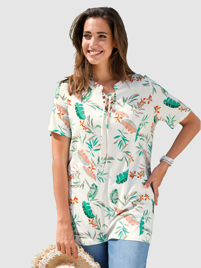 MIAMODA T-shirt à imprimé jungle, Blanc/Vert/Jaune