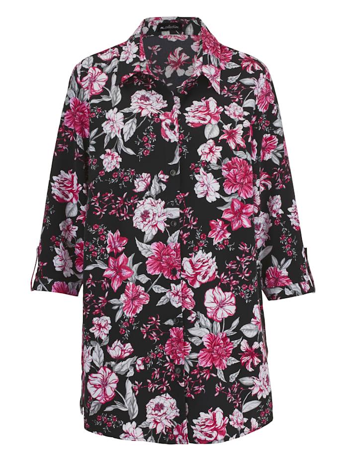 Bluse mit Blüten-Druckmuster rundum