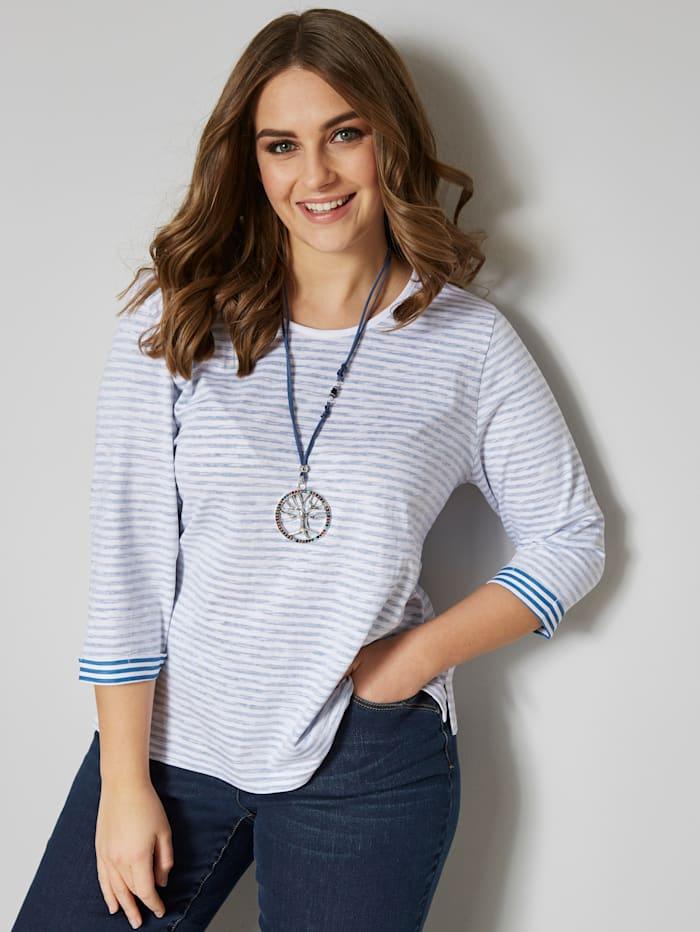 Janet & Joyce Shirt met strepen, Blauw/Wit