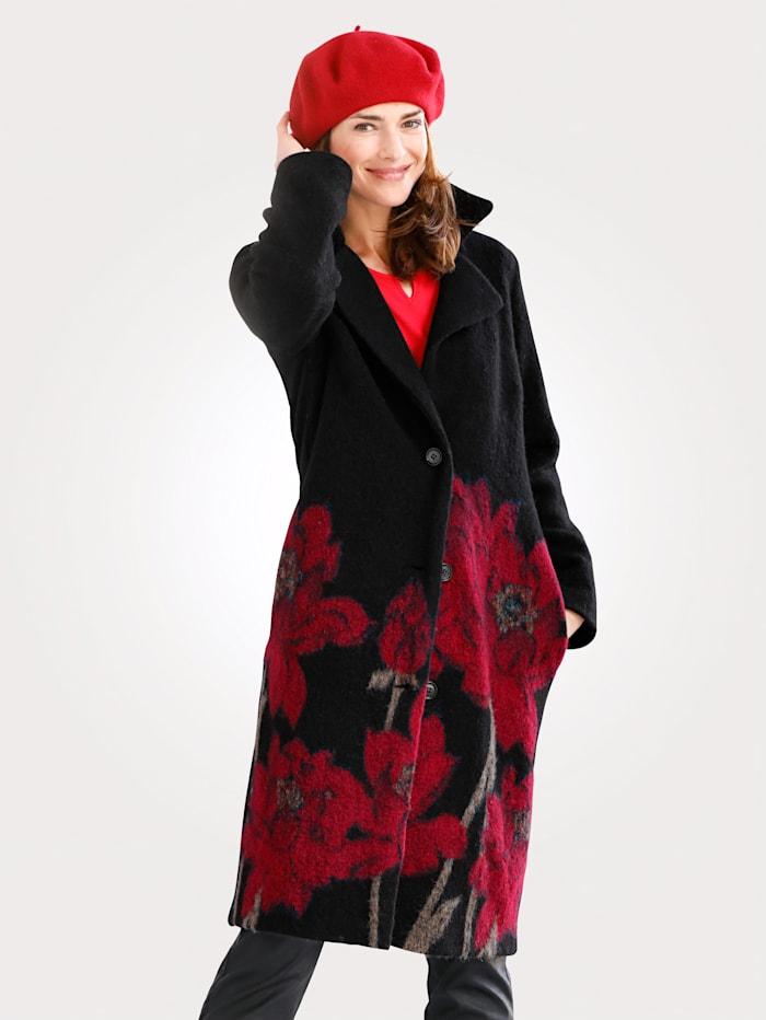 MONA Walkmantel mit Blüten-Motiv, Schwarz/Rot
