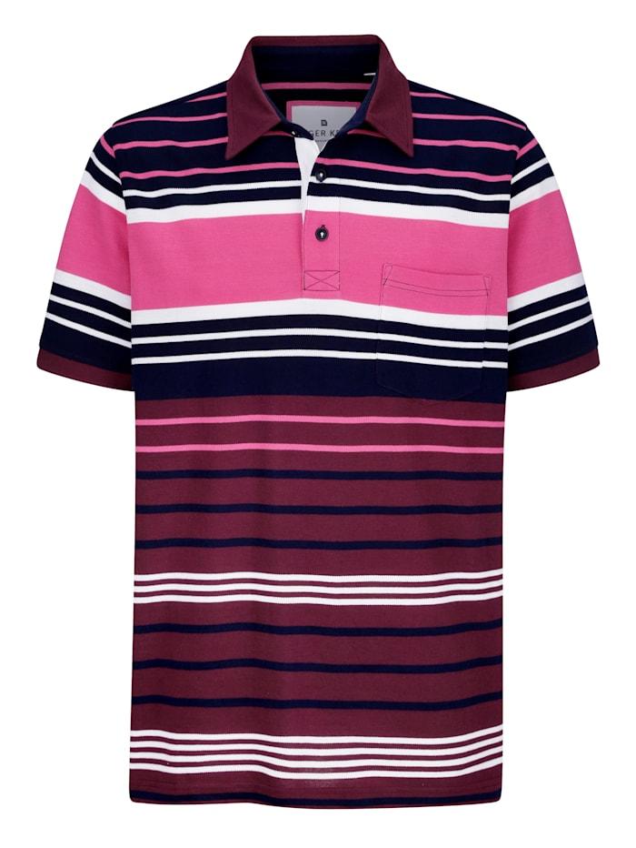 Roger Kent Poloskjorte med garnfarget stripemønster, Marine/Lyng