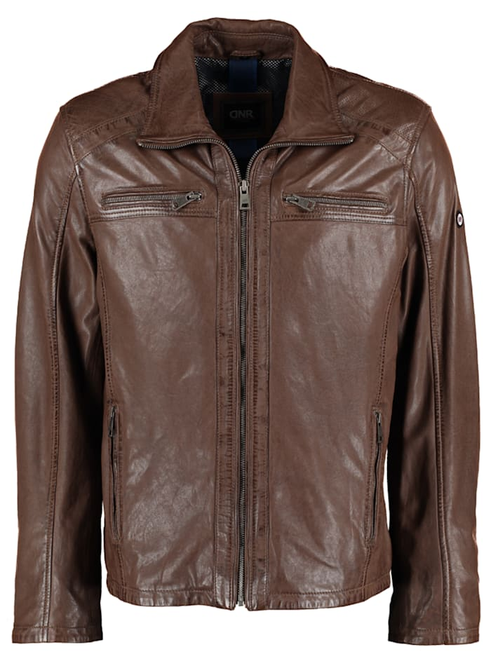 DNR Jackets Herren Lederjacke mit Taschen und Reißverschluss, Midle brown