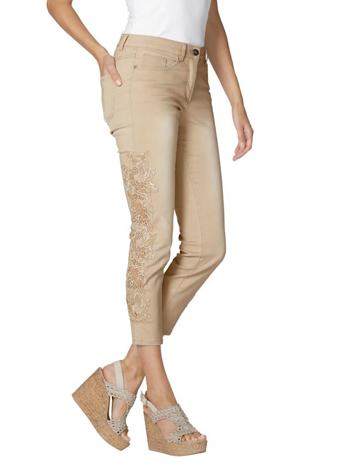 AMY VERMONT Jeans med blonder, Beige