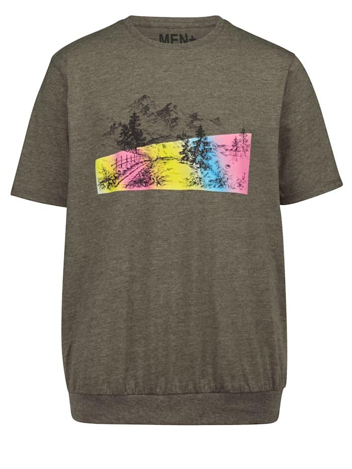 Men Plus T-shirt med extra plats för magen, Olivgrön