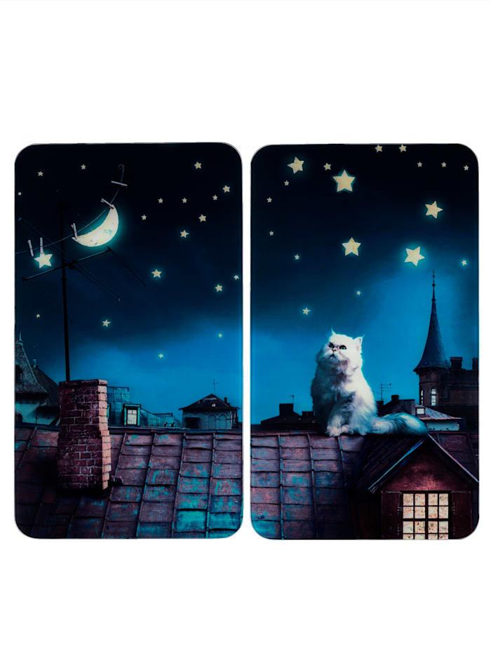 """Wenko Lot de 2 protège-plaques """"Chat lune"""", Multicolore"""