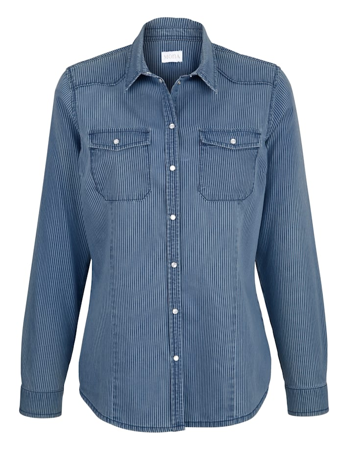Denim blouse with a striped pattern