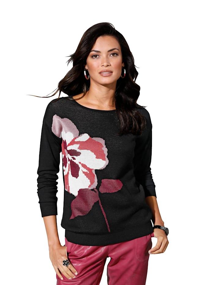AMY VERMONT Pullover mit Blüten-Intarsie, Schwarz