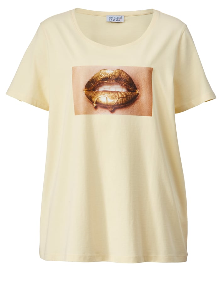 Shirt met kusmondjesmotief