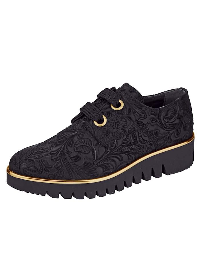 Filipe Shoes Schnürschuh mit Ornamentverzierung, Schwarz