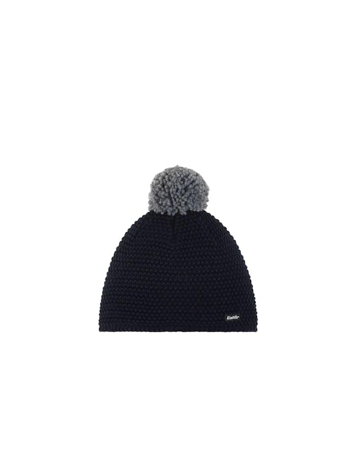 Eisbär Stylish, sportliche Mütze mit flauschigem Wollpompom <<Jamie>>, Nacht/Graumele