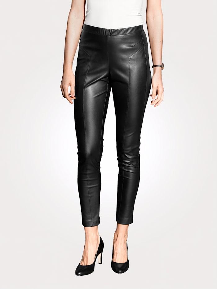 MONA Pantalon en simili à coutures fantaisie, Noir
