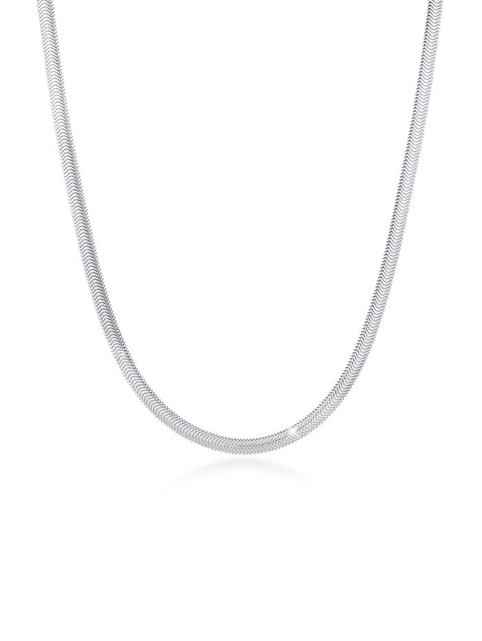 Elli Premium Halskette Flach Elegant Schlangenkette Fischgräte 925 Silber, Silber