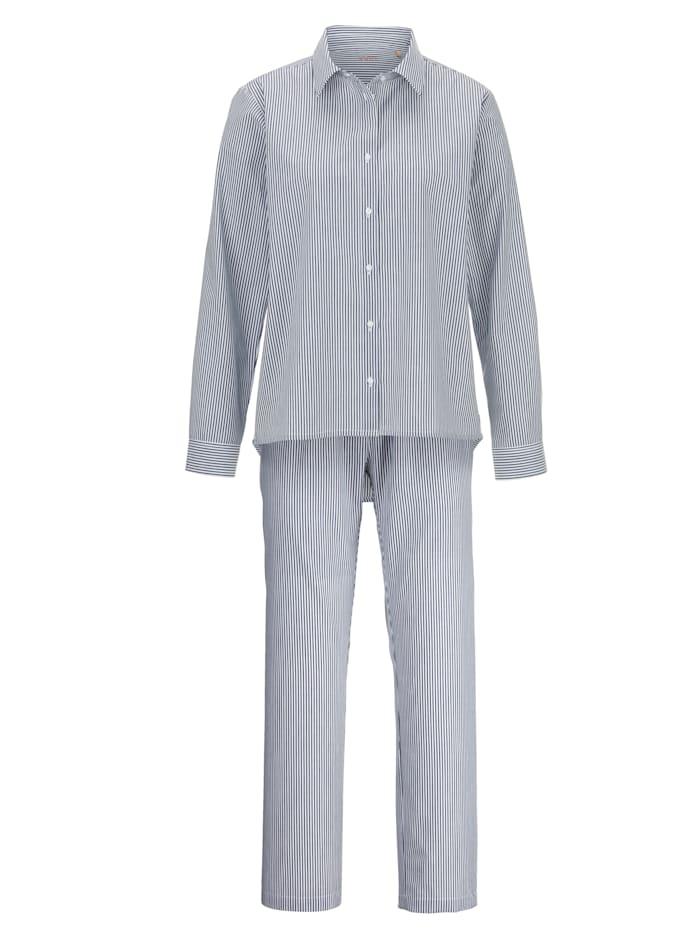 JOOP! Pyjama met aantrekkelijke overhemdkraag, Rookblauw/Wit