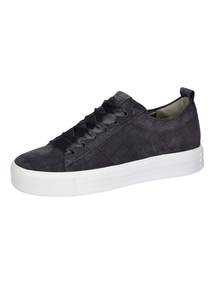 Kennel & Schmenger Sneakers à plateau à lacets en satin, Anthracite