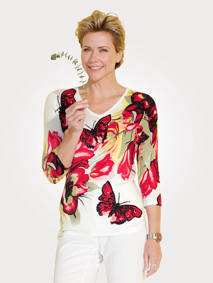 MONA Jumper with a bright butterfly print, White/Olive/Red