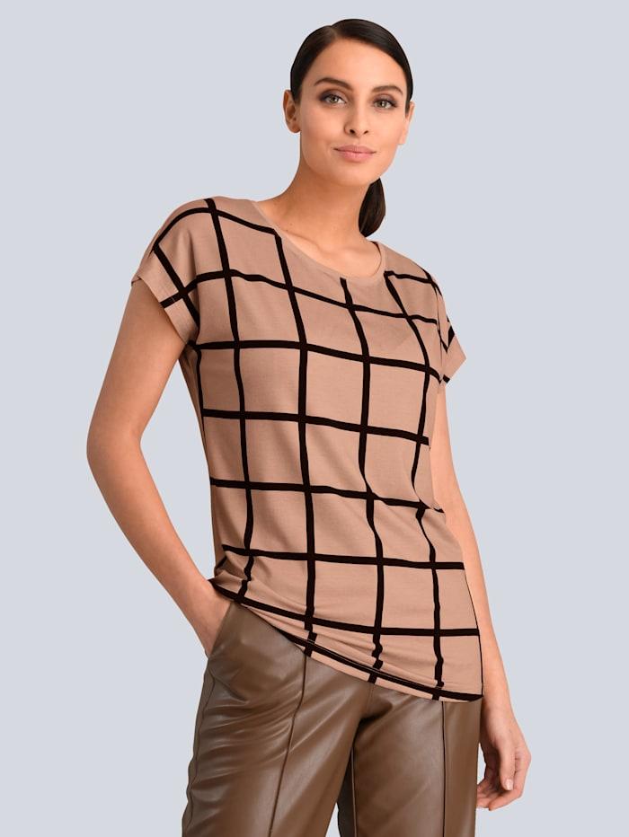 Alba Moda Shirt im Karodessin, Beige/Schwarz
