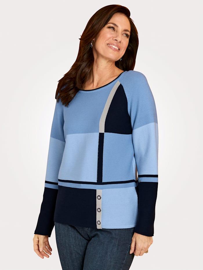 Rabe Jumper in an intarsia knit, Light Blue/Navy