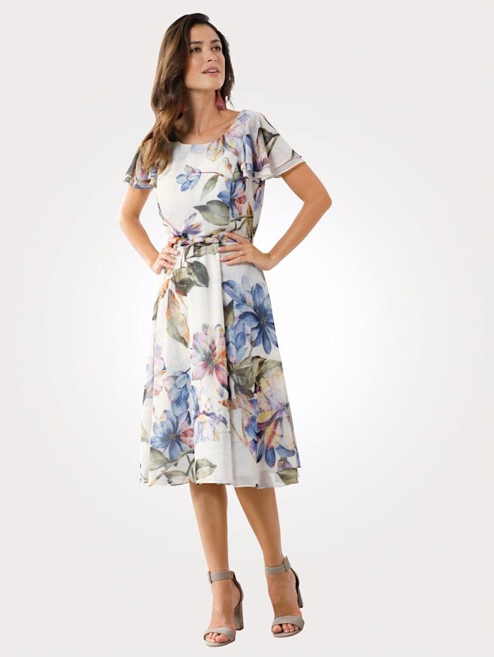 MONA Robe à imprimé façon aquarelle, Écru/Fuchsia/Vert