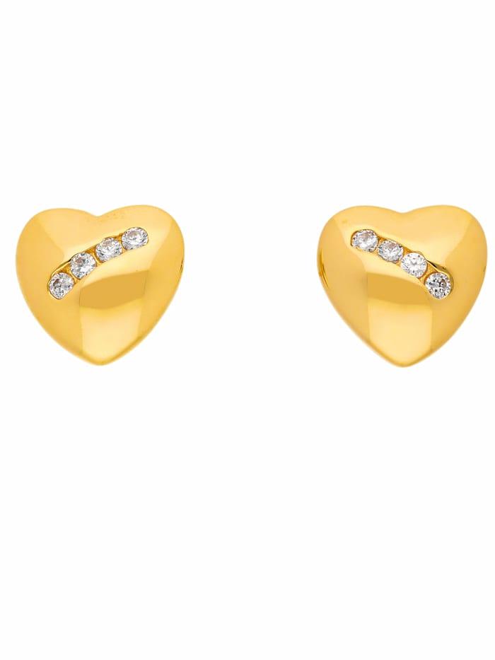 1001 Diamonds 1001 Diamonds Damen Goldschmuck 333 Gold Ohrringe / Ohrstecker Herz mit Zirkonia, gold