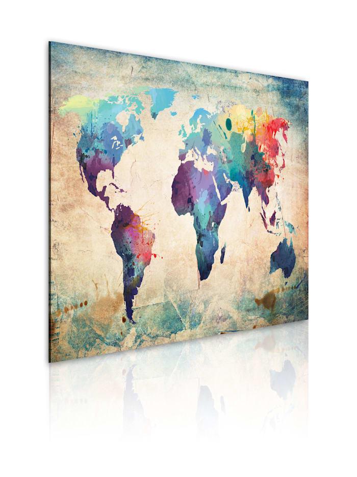 artgeist Wandbild Regenbogen-Weltkarte, Creme,Rot,Türkis,Violett,Gelb