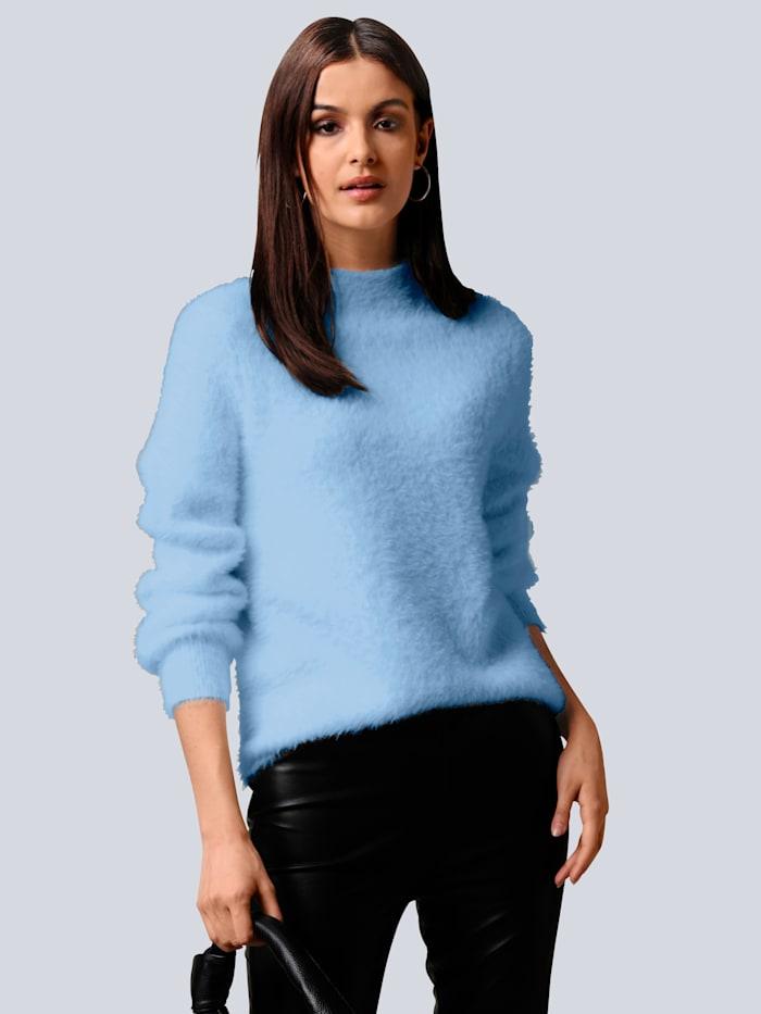 Alba Moda Pullover mit Flausch-Optik, Blau