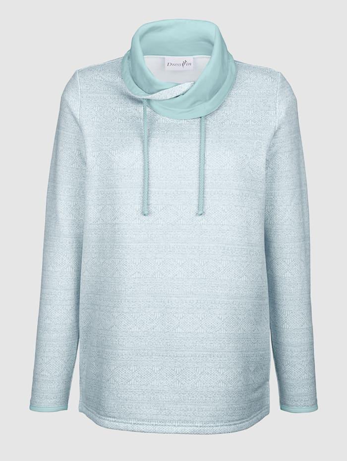 Dress In Sweatshirt mit weitem Kragen, Hellblau/Off-white
