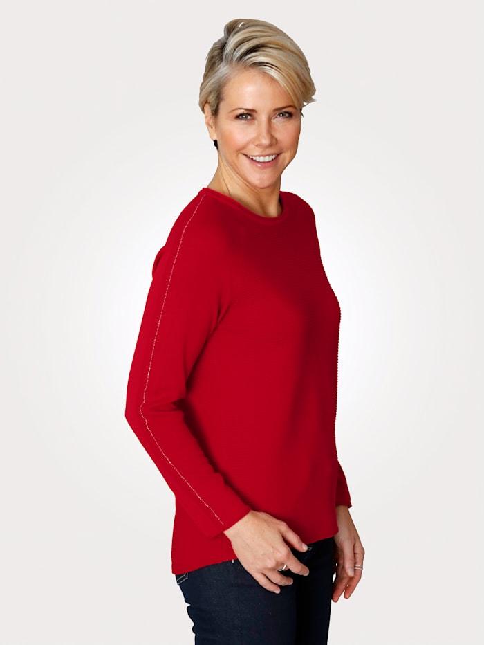 Rabe Pullover mit feinem Strukturringel, Rot