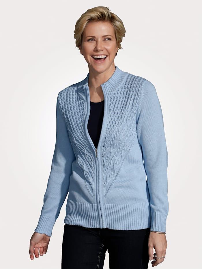 MONA Strickjacke aus reiner Pima Baumwolle, Hellblau