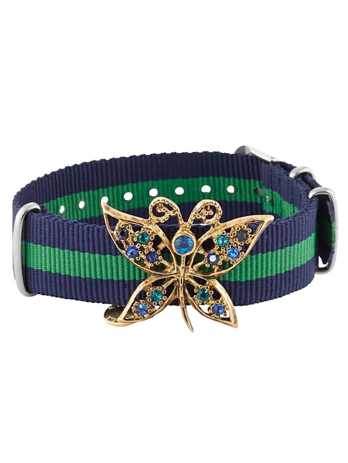 gabriele frantzen Armband mit Schmetterlingsbrosche, Blau/Grün