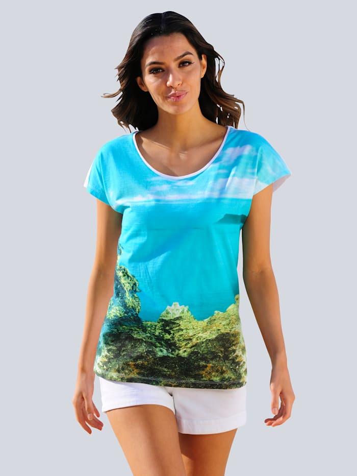 Alba Moda Strandshirt mit maritimen Fotodruck, Türkis