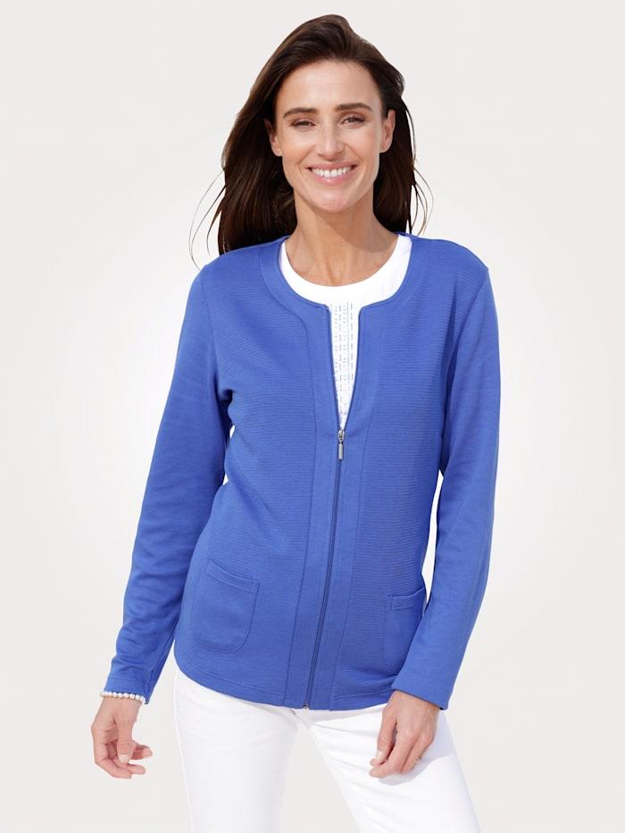 MONA Shirtjacke mit sportiver Struktur, Royalblau