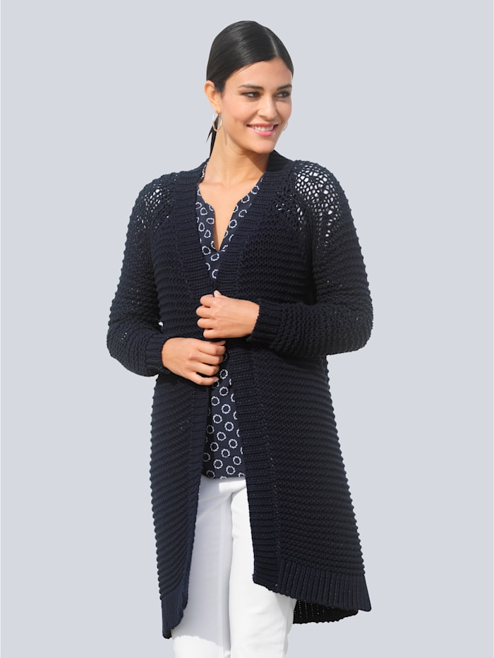 Alba Moda Strickjacke in langer legerer Form, Marineblau