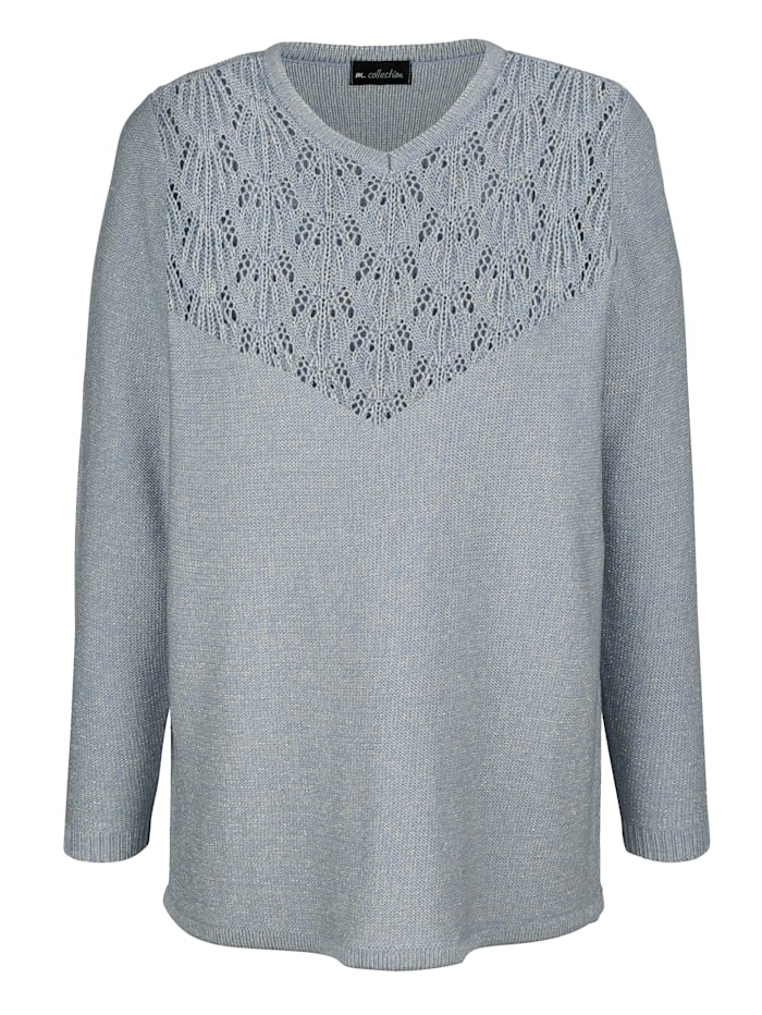 m. collection Pullover mit Ajoursmuster, Blau