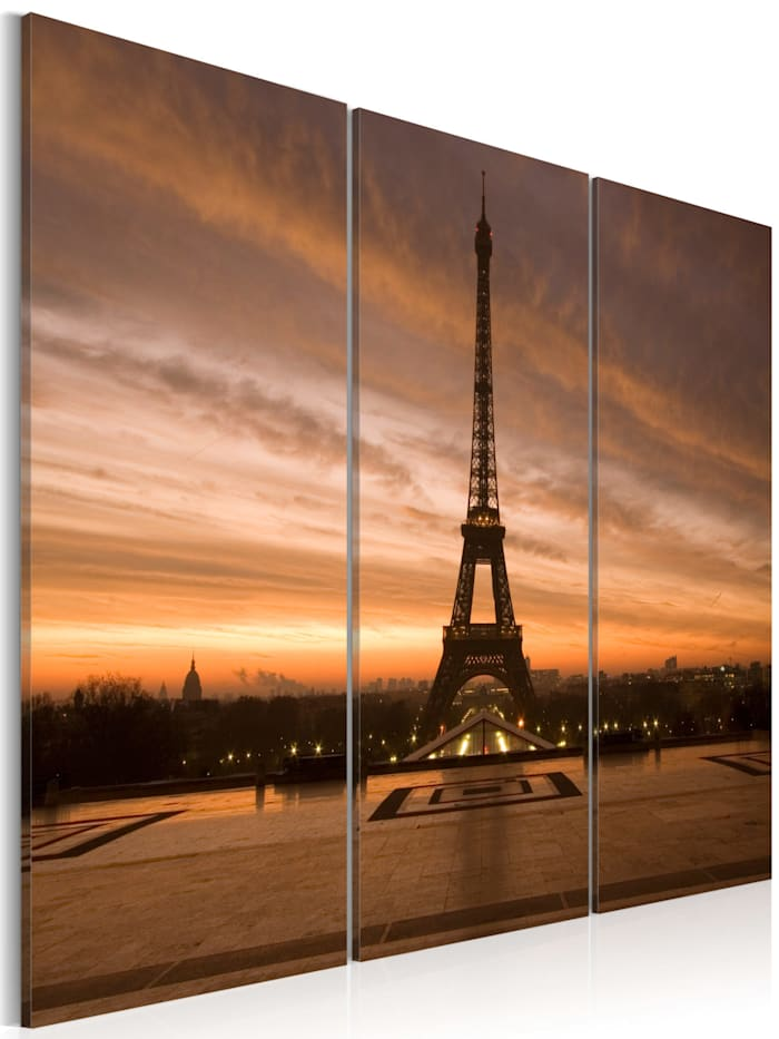 artgeist Wandbild Eiffelturm bei Sonnenuntergang, Sepia,Violett