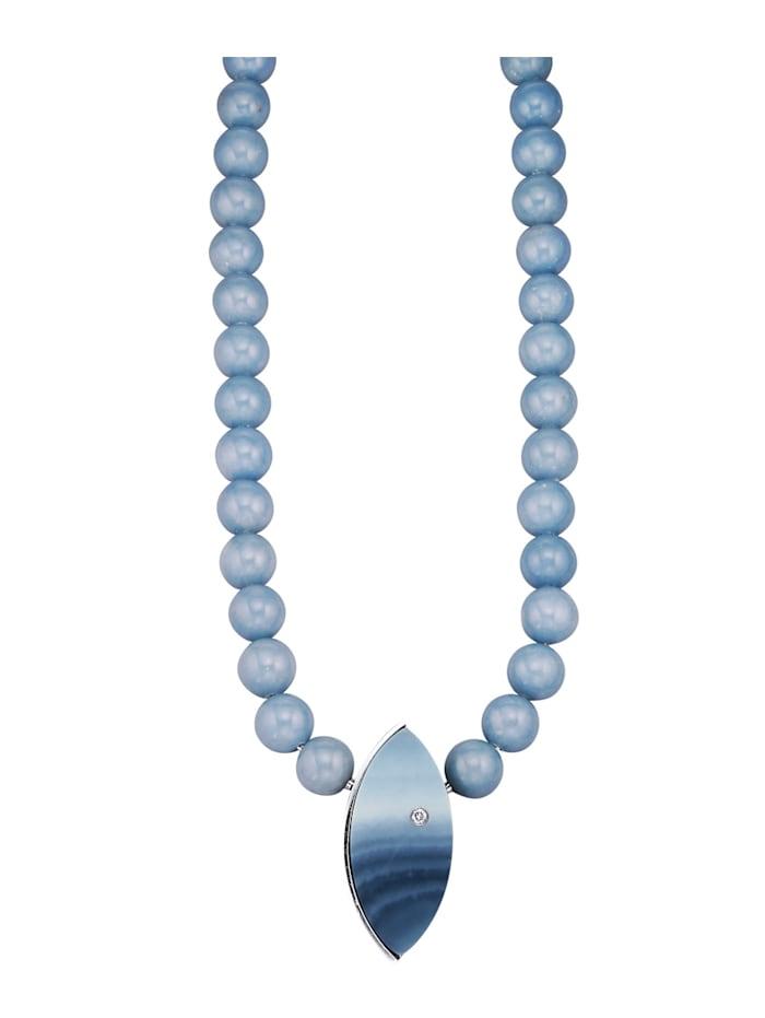 Diemer Farbstein Angelit-Collier mit Achat-Lagenstein, Blau