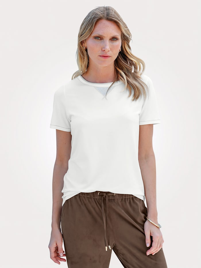Top with shimmering thread and rhinestone detailing