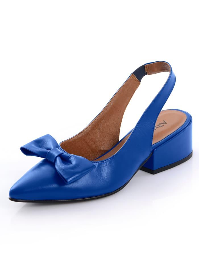 Alba Moda Escarpins en cuir de chevreau haut de gamme, Bleu roi