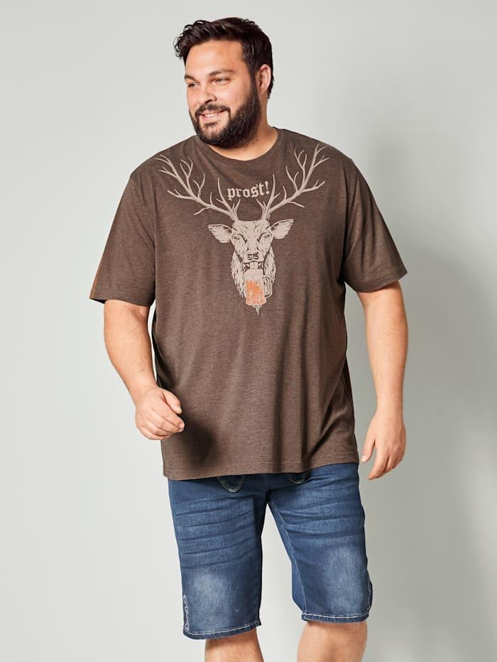 Men Plus T-shirt in gemêleerde look, Bruin